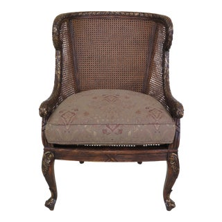 1990s Vintage French Louis XV Carved Mahogany Cane Back & Side Chair For Sale