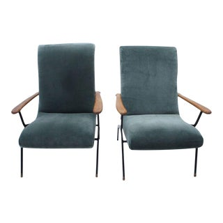 Gio Ponti Style Italian Armchairs- A Pair For Sale