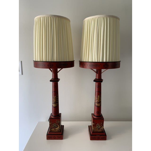 Chinese Painted Red Metal Table Lamps - a Pair For Sale - Image 13 of 13