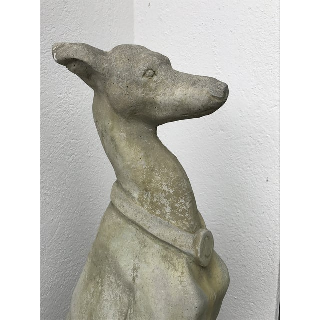 Stone Gray Whippet Dog Statues- a Pair For Sale - Image 8 of 12