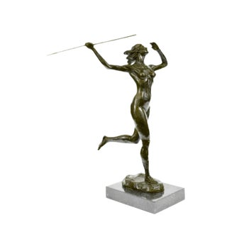 21st Century Diana Goddess of the Hunt Mus&eacutee Alsacien Art Deco Bronze Sculpture For Sale
