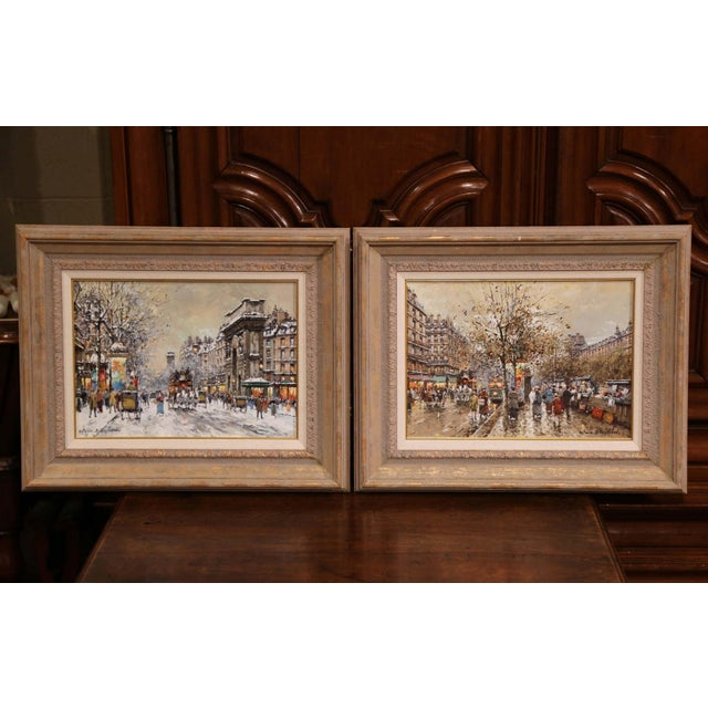 Pair of Framed Oil on Canvas Parisian Street Scenes Signed Antoine Blanchard For Sale - Image 4 of 13