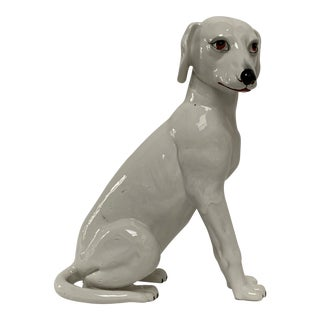 Final Markdown Large Italian White Ceramic Greyhound Dog Puppy Figure For Sale