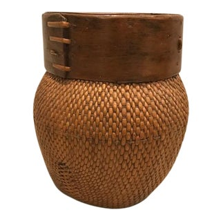Antique Chinese Bamboo Basket For Sale