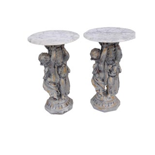 Pair Mid Century French Italian Rococo Marble Top Putti/Cherub Base Side Tables Shabby Paris Apartment For Sale