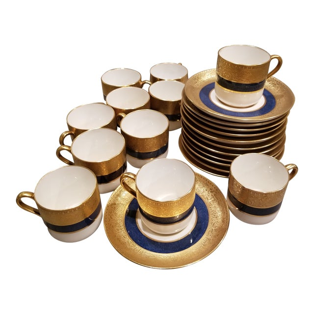 Eleven Spode Blue White and Gold Demitasse For Sale