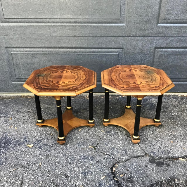 Art Deco Walnut Side Tables by Baker Furniture, a Pair For Sale - Image 9 of 9