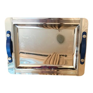 Vintage Jean Couzon French Stainless Steel Tray With Electric Blue Handles For Sale