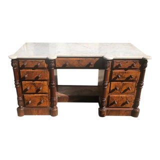 Antique Louis Philippe Burl Walnut Marble Top Dressing Table Desk For Sale