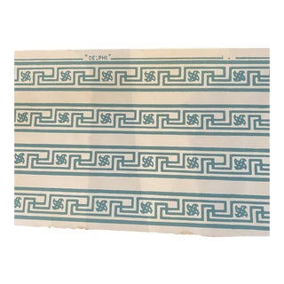 Vintage Hand Printed Neoclassic Greek Key Border in Blue Green - 6.5 Yards For Sale