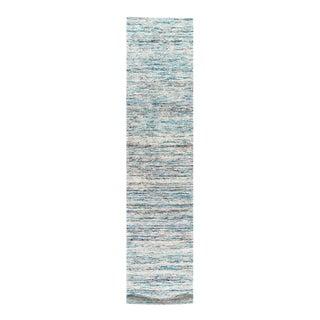 Pasargad Turquoise Sari-Silk Modern Flat Weave Runner 2'4'' X 10 For Sale