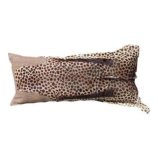 Cheetah Printed Hide Lumbar Pillow For Sale