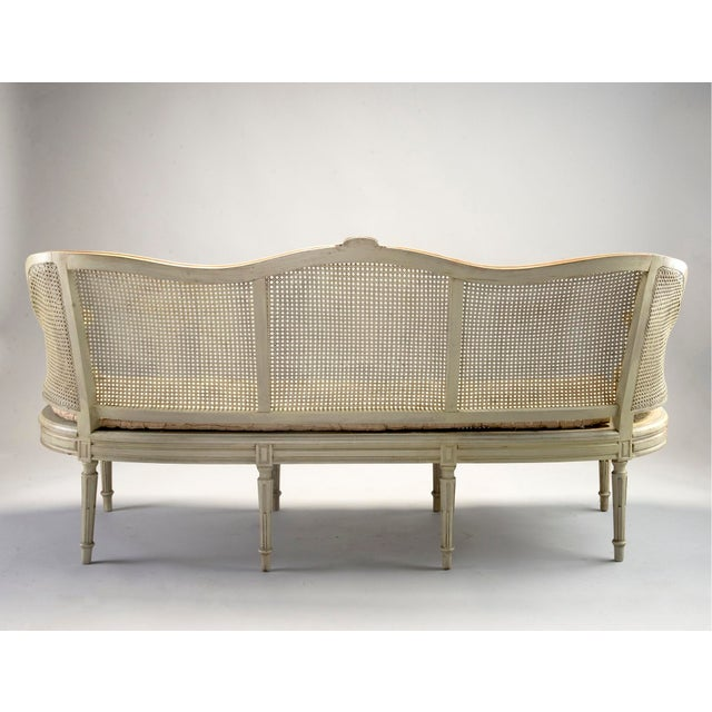 Painted Louis XVI Style Large Caned Settee With Original Cushion For Sale - Image 4 of 11