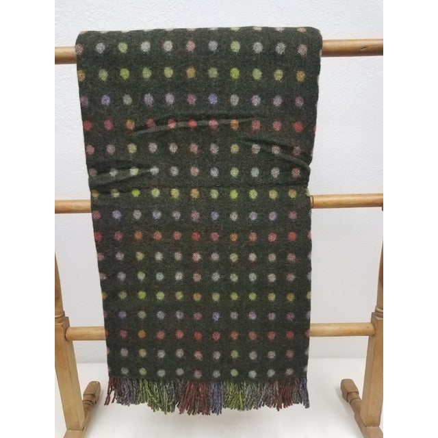 Merino Wool Throw Spot Dark Green - Made in England For Sale - Image 10 of 10