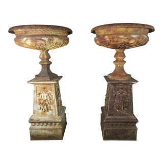 19th CenturyFrench Cast Iron Urns on Bases For Sale