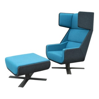 Modern Axel Enthoven for BuzziSpace Blue BuzziMe Swivel Lounge Chair and Ottoman For Sale