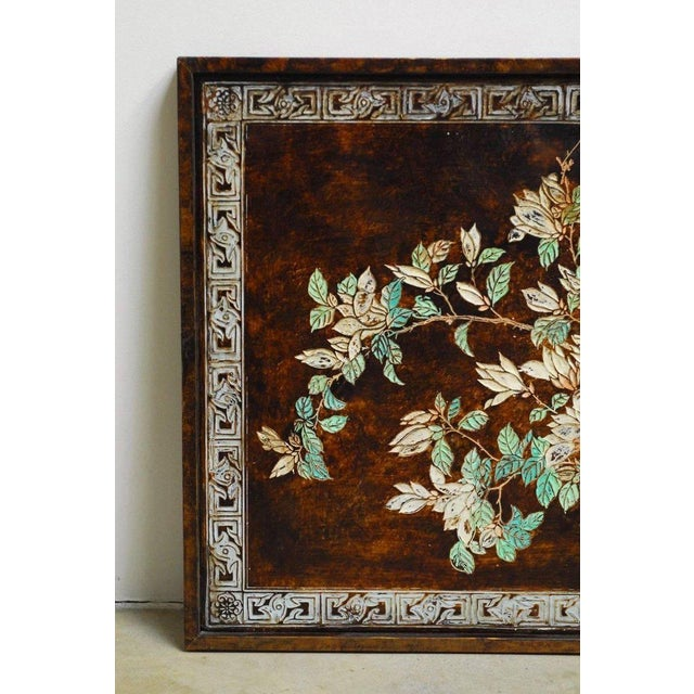 Chinese Floral and Foliate Painted Relief Panel For Sale - Image 4 of 11