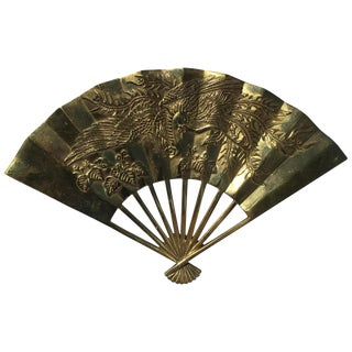 Vintage Brass Chinoiserie Wall Hanging Fan Art