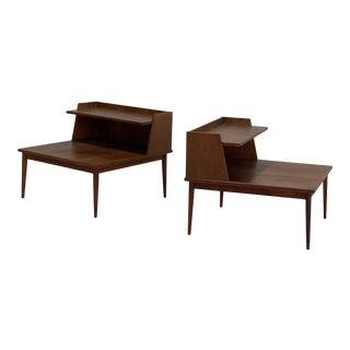 Mid Century Two-Tiered Walnut End Tables - a Pair For Sale