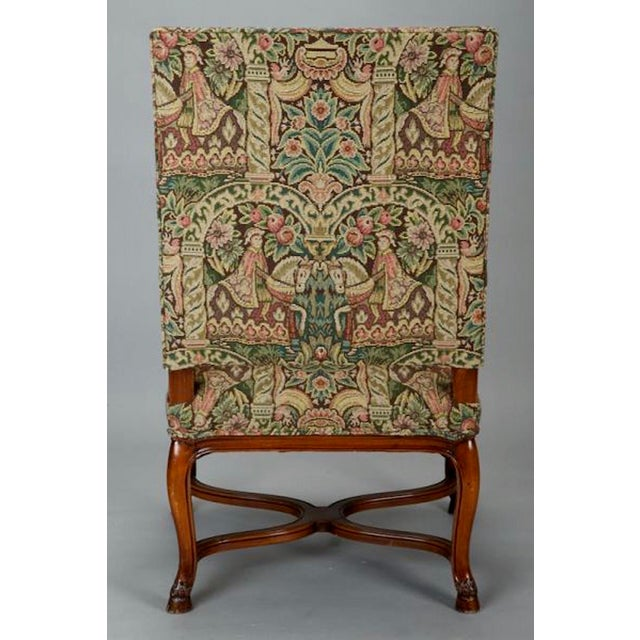 19th Century French Louis XIV Armchair Covered In Old World Style Tapestry Fabric For Sale - Image 5 of 8