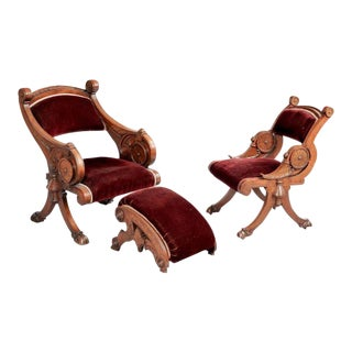 Two Renaissance Revival Chairs and a Foot Stool For Sale