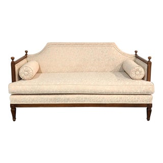 Hollywood Regency Blush Floral Walnut Trim Petite Sofa