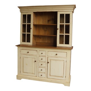 20th Century Cottage Farmhouse China Hutch For Sale