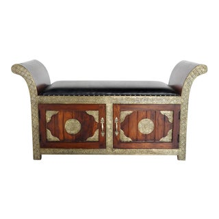 Handmade in India Brass Inlaid Settee With Storage For Sale