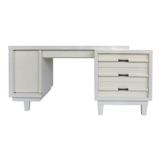 Mid-Century Modern Ivory Lacquered Desk from a South Beach Estate