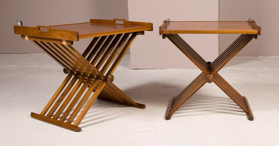 Pair Of Walnut Folding Campaign Tables By Stewart MacDougall   Image 2 Of 6