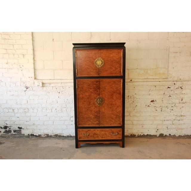 Century Furniture Black Lacquer & Burlwood Armoire - Image 3 of 11