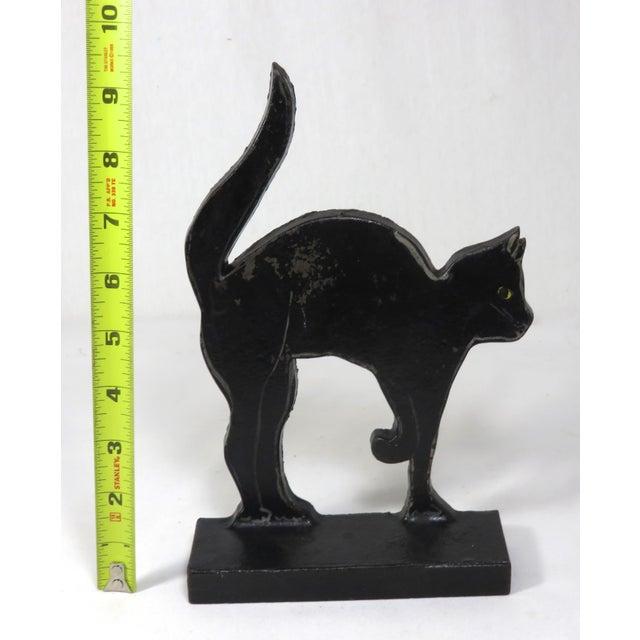1920s Black Halloween Cat Cast Iron Doorstop For Sale - Image 10 of 13