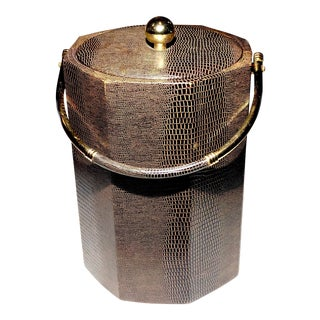 Towle Brown Vintage Octagon Faux-Lizard Ice Bucket For Sale