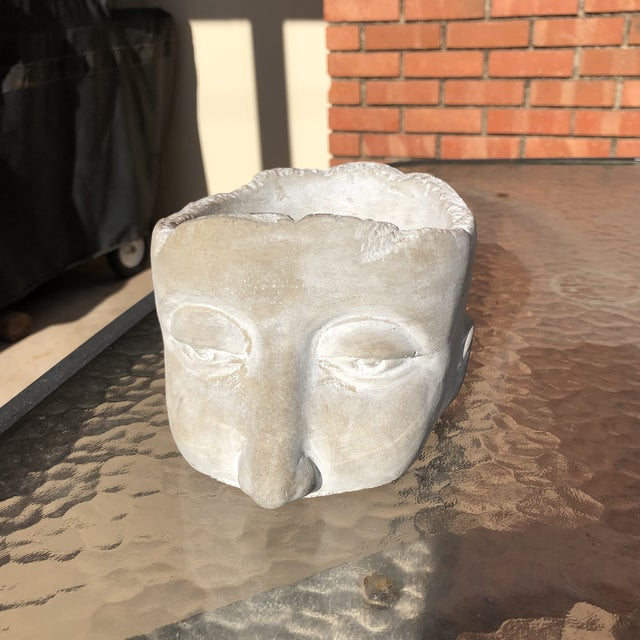 20th Century Figurative Clay Head With Face Planter For Sale - Image 12 of 12