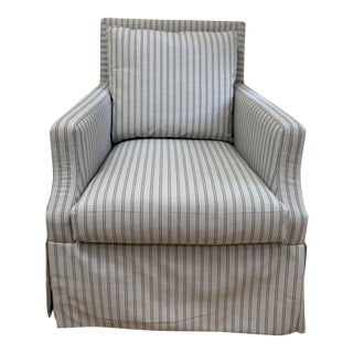 Serena & Lily Grady Skirted Swivel Chair in Custom Perennials Fabric For Sale
