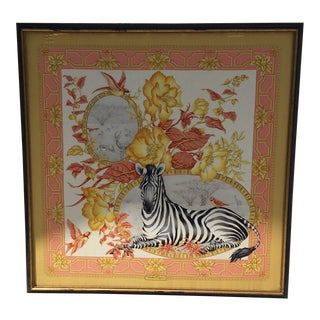 Framed Salvatore Ferragamo Zebra Scarf For Sale
