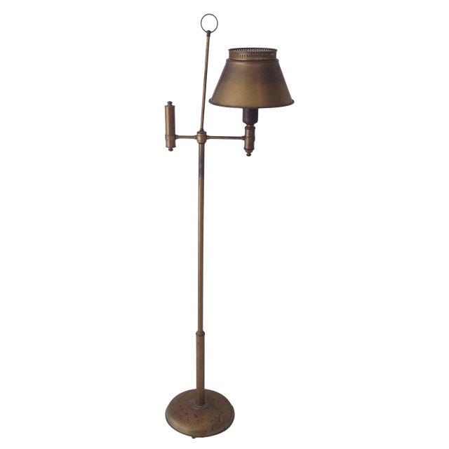 Aged Brass Tole Floor Lamp - Image 1 of 11