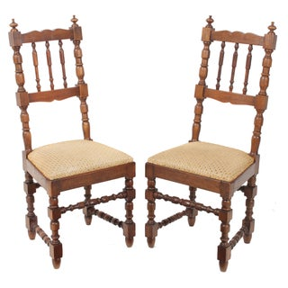 1900s French Oak Farm Chairs - A Pair For Sale