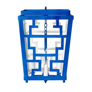 Hand Painted Chinese Fretwork Pendant Chandelier in Royal Blue For Sale