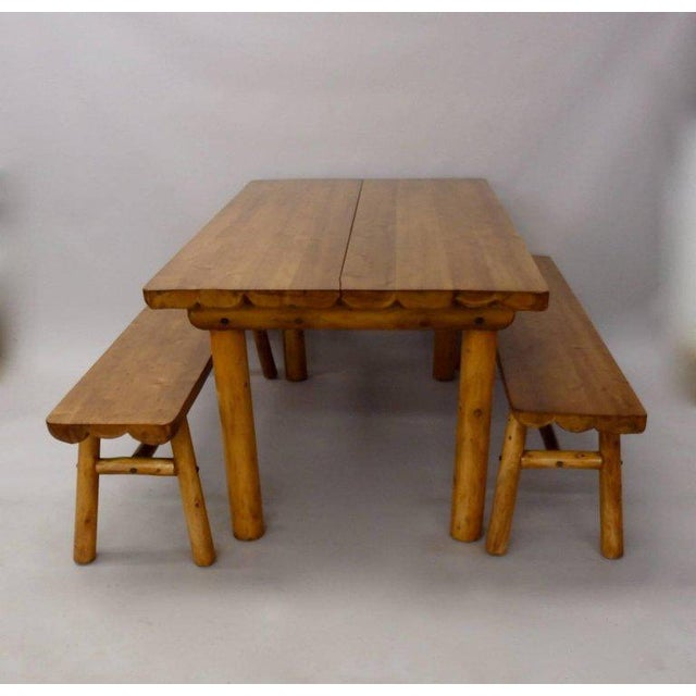 Knotty Pine Rustic Adirondack Ranch or Cottage Dining Table With Benches For Sale - Image 9 of 10