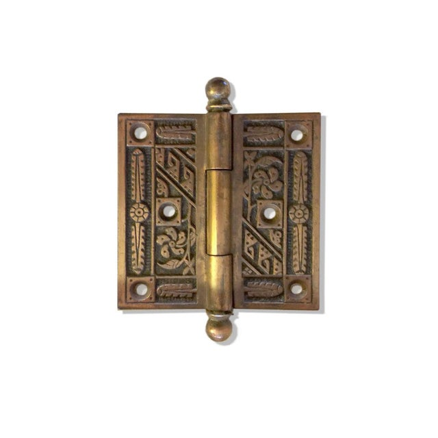 """Set of 3, solid brass Art Deco floral door hinges. Hinge plates are 3.5x3.5"""" not including pin, pin adds 1"""". They are..."""