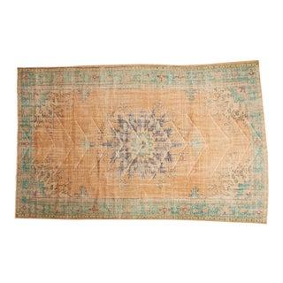 "Vintage Distressed Oushak Carpet - 6'7"" X 10'2"" For Sale"