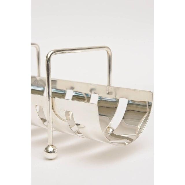 Italian Modernist Silver Plate Baguette Holder For Sale - Image 4 of 10