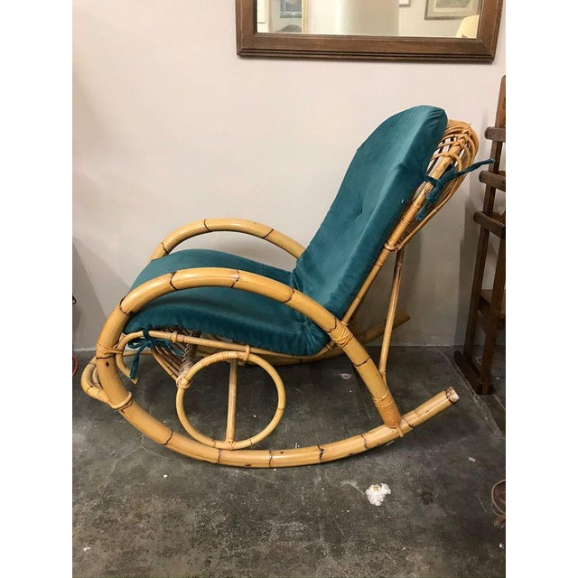 Brown 1960s Franco Albini Rattan Bamboo Rocking Chair For Sale - Image 8 of 11