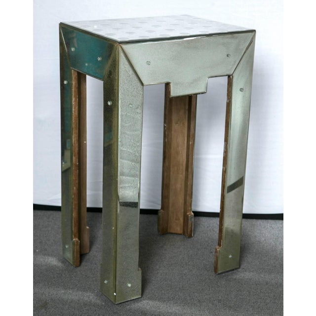 Mirrored Bullseye Art Deco Side Tables - Pair - Image 2 of 5