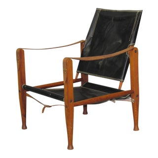 1950s Danish Modern Kaare Klint for Rud Rasmussen Black Leather Safari Chair For Sale