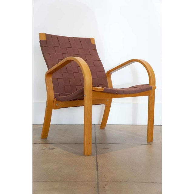"""Bentwood chair with new 2"""" ruddy brown cotton webbing."""