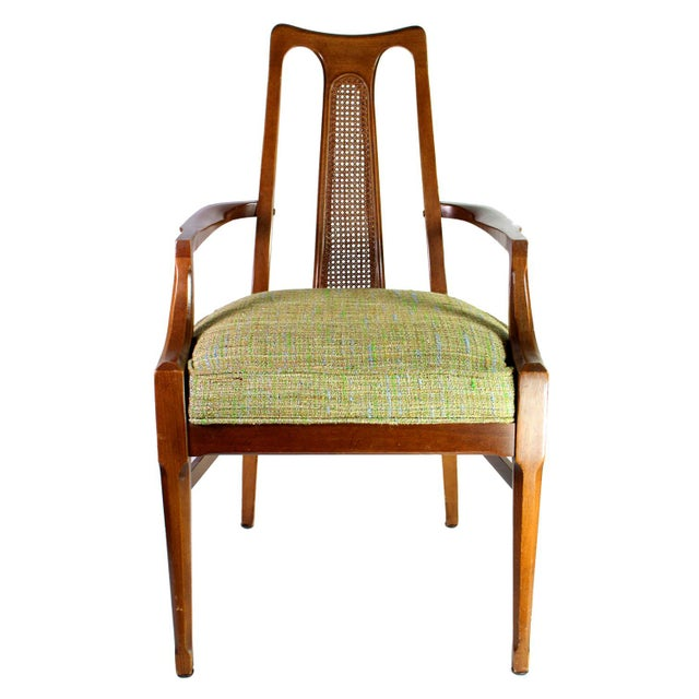 1950s Baker Walnut Mid Century Modern Cane Backed Dining Chairs - Set of 6 For Sale - Image 5 of 12