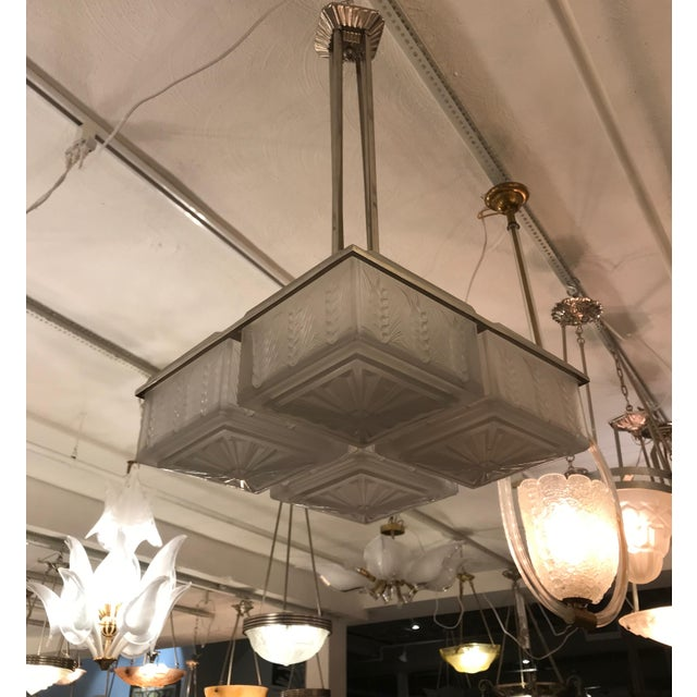 Metal French Art Deco Chandelier by Hettier and Vincent For Sale - Image 7 of 12