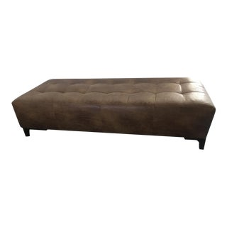 Large Modern Vegan Leather Upholstered Brownstone Ottoman For Sale